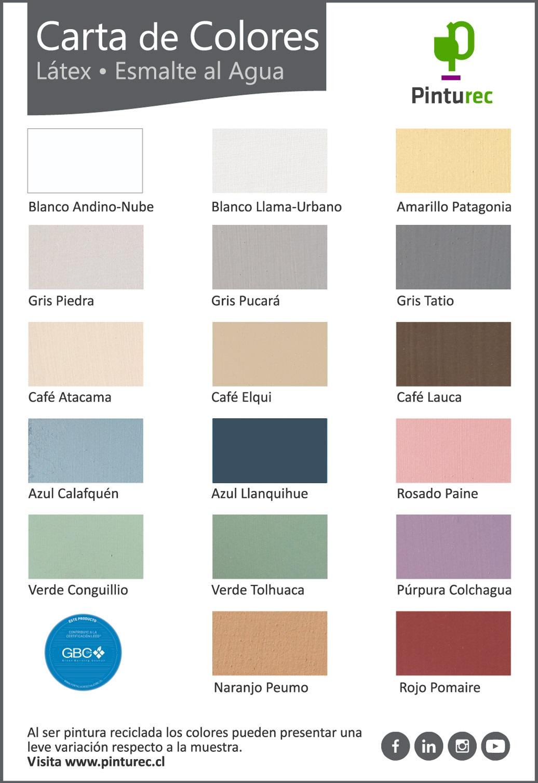 carta de colores pintura reciclada